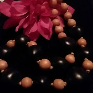 Jewelry - SALE MATT BLACK & WOOD COLORED SHAPELY  NECKALACE